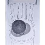 """Wooden Ball on Chair""   pencil   2012   76x55cm"